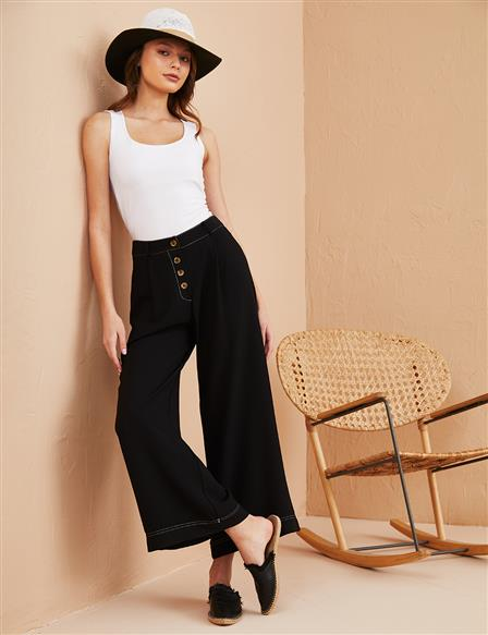 KYR Contrast Stitching Wide Leg Pants B21 79023 Black