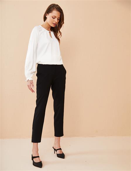 KYR Hem Zippered Classic Pants B21 79019 Black