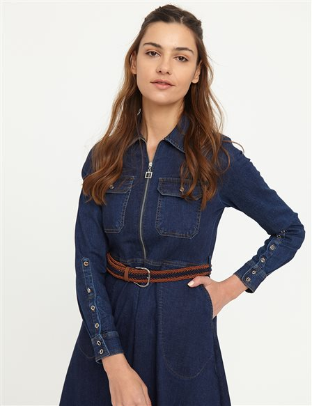 Double Pocket Belted Denim Dress B21 23129 Navy