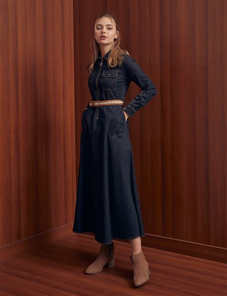 Double Pocket Belted Denim Dress B21 23129 Black