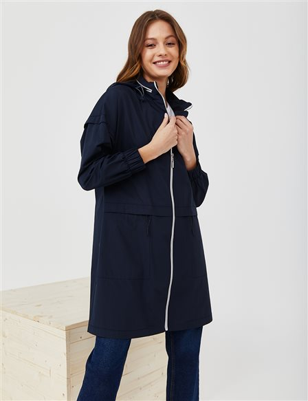 Zippered Sport Trench Coat B21 14010 Navy