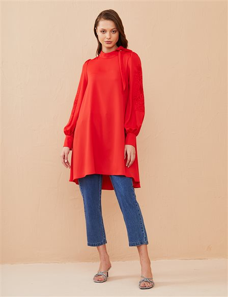 Grandad Neck Balloon Sleeve Tunic B21 21001 Red
