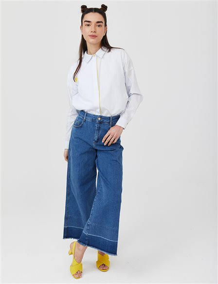 Wide Leg Denim Pants B21 19077 Blue
