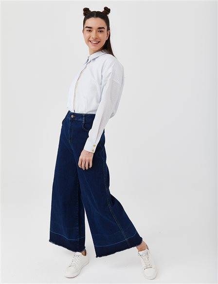 Wide Leg Denim Pants B21 19077 Navy