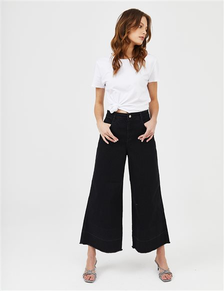 Wide Leg Denim Pants B21 19077 Black