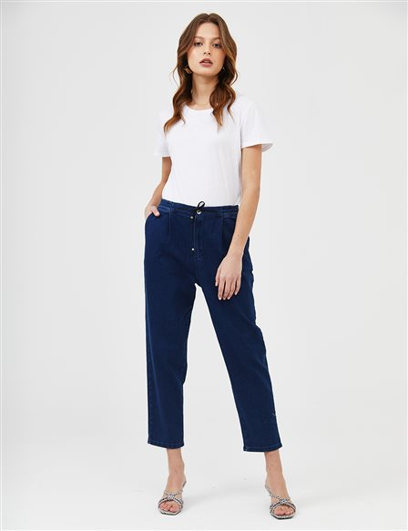 Elastic Pleated Denim Carrot Pants B21 19078 Navy