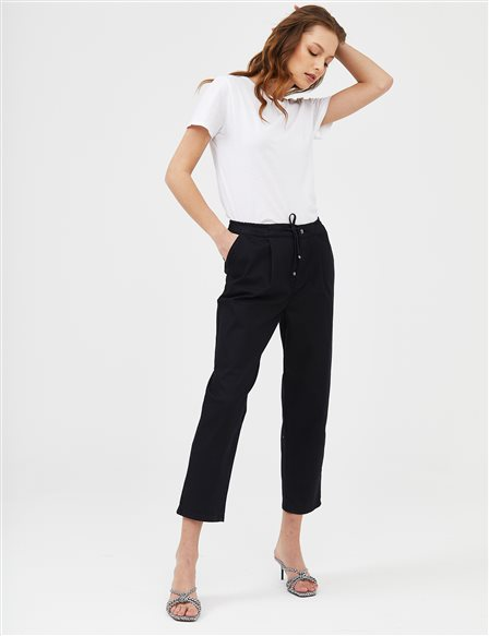 Elastic Pleated Denim Carrot Pants B21 19078 Black