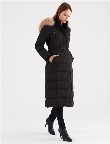 Fur Detailed Goose Down Coat A8 27007 Black
