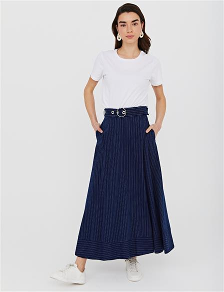 Belted Striped A-line Skirt B21 12006 Navy