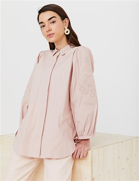 Collar and Sleeve Embroidered Shirt B21 11007 Powder