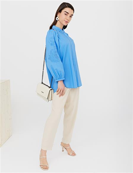 Collar and Sleeve Embroidered Shirt B21 11007 Aviator Blue