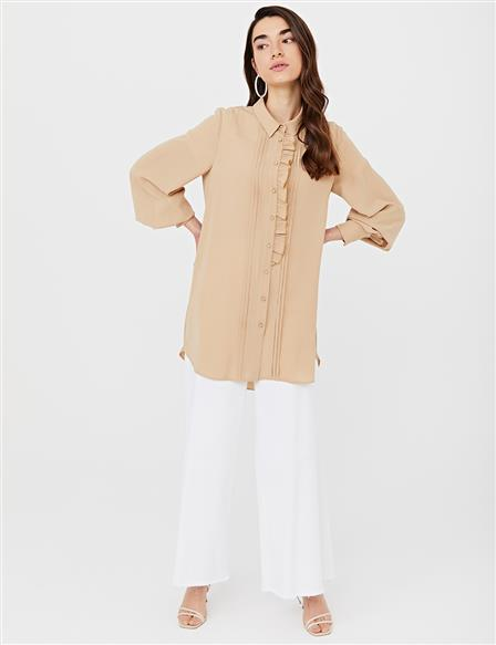 KYR Frilly Ribbed Tunic B21 81027 Beige