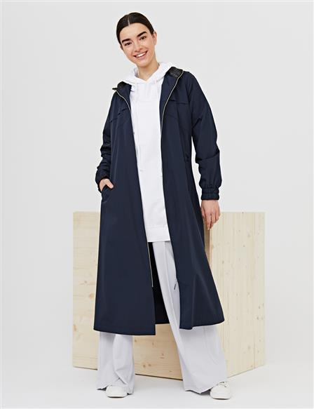 Hooded Zipper Closure Sport Trench Coat B21 14016 Navy