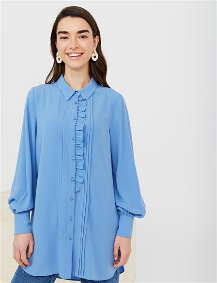 KYR Frilly Ribbed Tunic B21 81027 Blue
