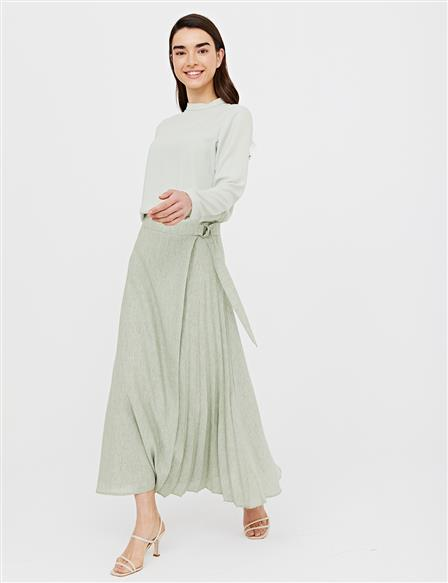 Pleated A-line Skirt B21 12023 Water Green