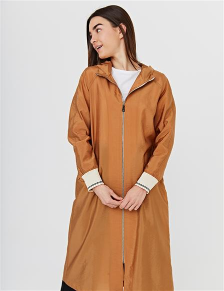 Contrast Zippered Sports Trench Coat B21 14018 Beige