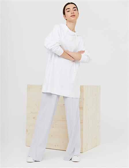 Hooded Oversize Tunic B21 21280 Ecru