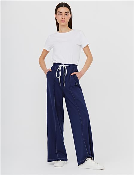 Wide Leg Pants With Contrast Stitching B21 19040 Navy