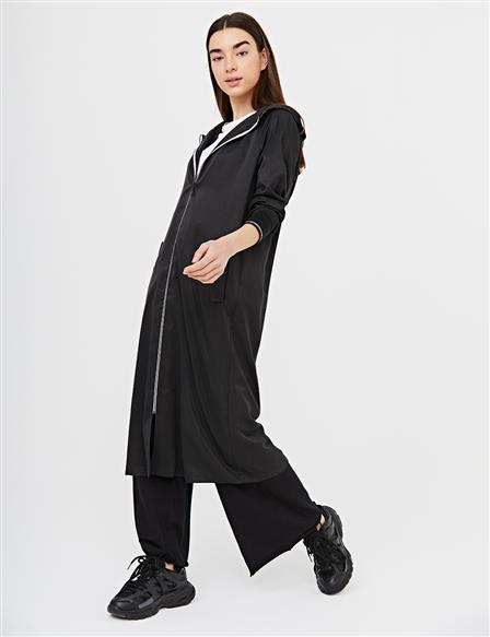 Contrast Zippered Sports Trench Coat B21 14018 Black