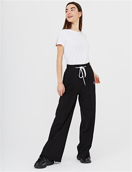 Wide Leg Pants With Contrast Stitching B21 19040 Black