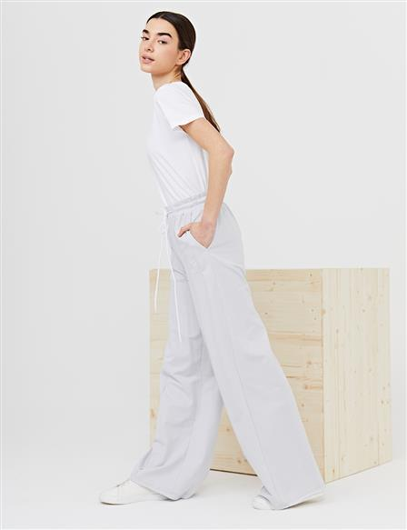 Wide Leg Pants With Contrast Stitching B21 19040 Gray