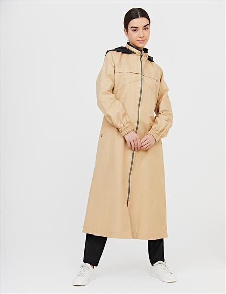 Hooded Zipper Closure Sport Trench Coat B21 14016 Beige