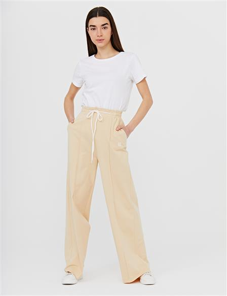 Wide Leg Pants With Contrast Stitching B21 19040 Beige