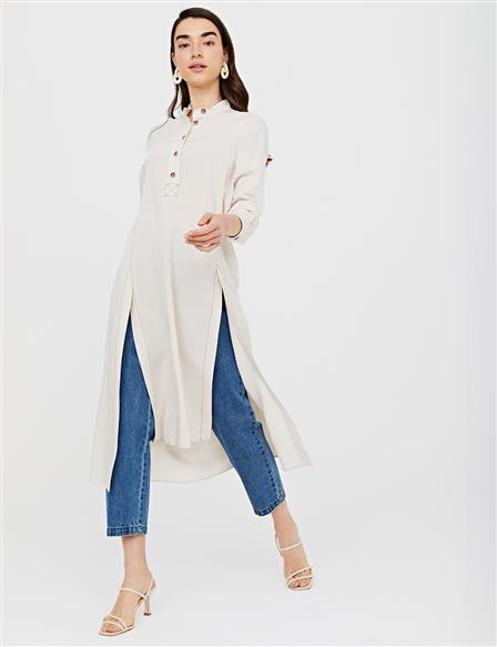 KYR Slit Judge Collar Tunic B21 81054 Cream