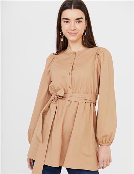 Belted Round Neck Collar Tunic B21 21302 Camel