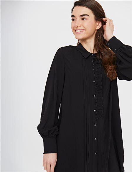 KYR Frilly Ribbed Tunic B21 81027 Black