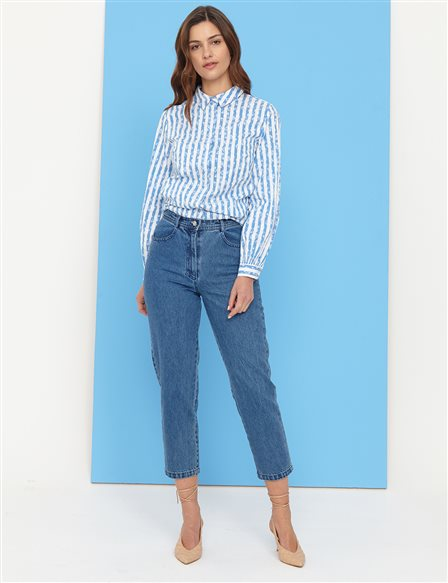 Basic Mom Jeans B21 19079 Blue