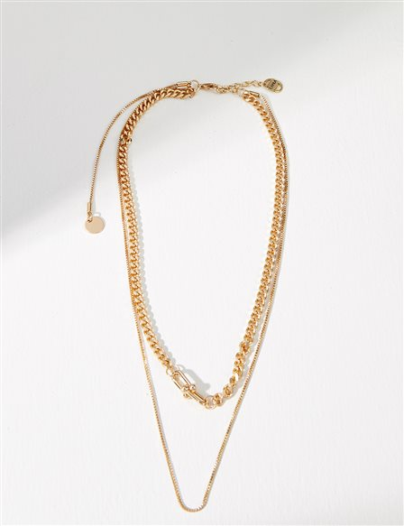 Double Chain Necklace B21 KLY10 Gold