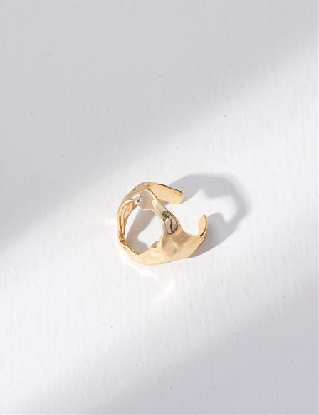 Perforated Adjustable Ring Gold B21 YZK01