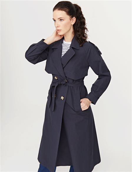 Double Breasted Trenchcoat Navy B21 14008A