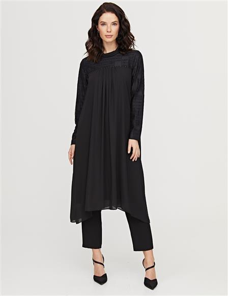 KYR Pleated Jacquard Tunic B21 81029 Black
