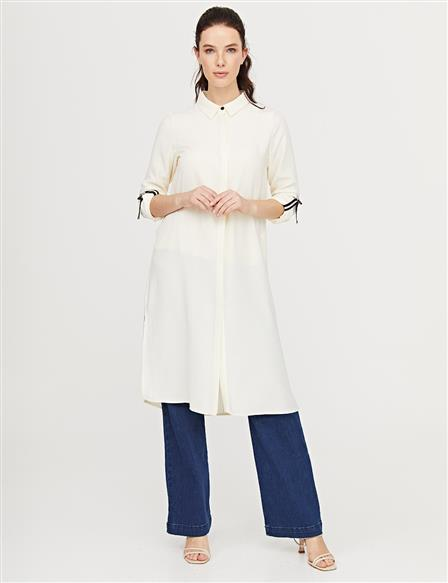 KYR Long Tunic with Contrast Stitching B21 81032 Ecru
