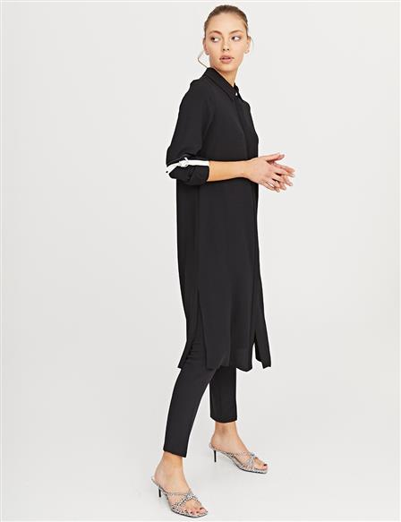KYR Long Tunic with Contrast Stitching B21 81032 Black
