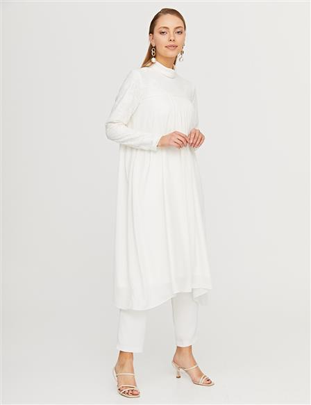KYR Pleated Jacquard Tunic B21 81029 Ecru