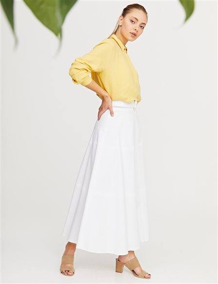 Belted A-line Canvas Skirt B21 12003 White