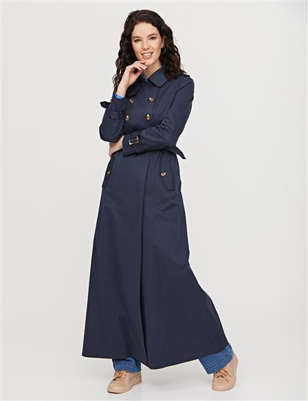 Bone Button Detailed Belted Topcoat B21 15016 Navy
