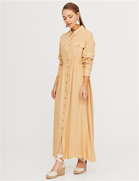 Buttoned Dress with Double Pocket B21 23156 Beige