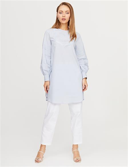 Embroidered Ribbed Tunic B21 21269 Light Blue