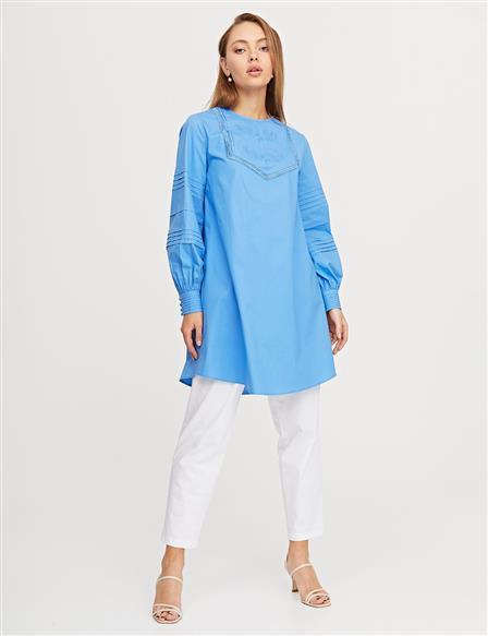Embroidered Ribbed Tunic B21 21269 Aviator Blue