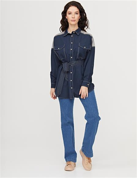 Belted Tunic With Double Pocket B21 21297 Navy