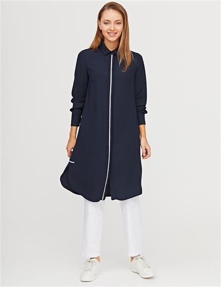 KYR Colorful Placket Long Tunic B21 81042 Navy