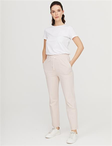 Elastic Waist Casual Fit Pants B21 19073 Powder