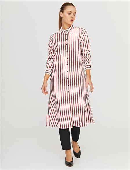 KYR Striped Long Tunic B21 81043 Red-Ecru