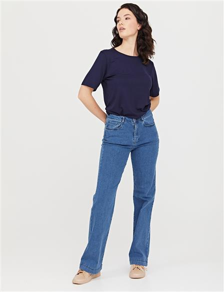 Flare Cut Denim Pantolon Mavi B21 19116