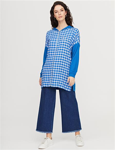 Zipper Closure Checkered Tunic B21 21305 Blue