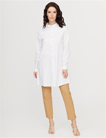 KYR Crested Grandad Collar Tunic B21 81047 White